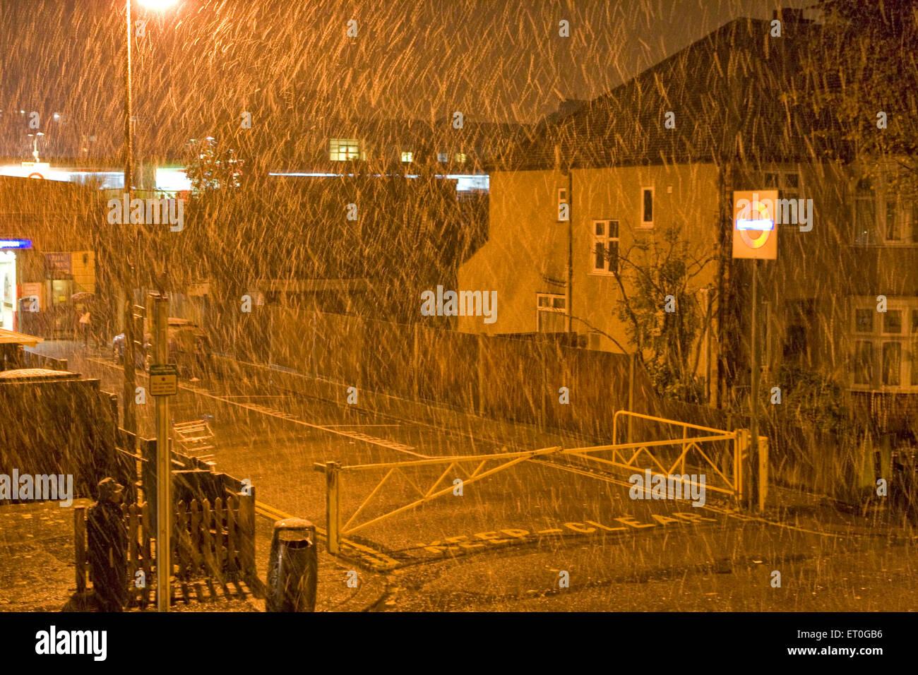 Snowfall ; Northwick Park ; London ; UK United Kingdom England - Stock Image