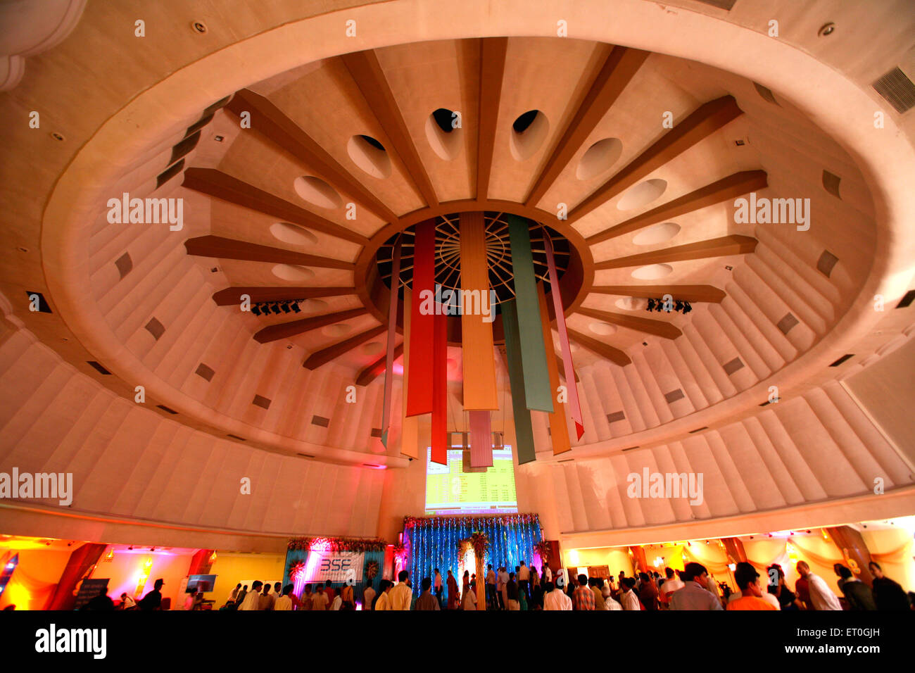 Different colours flags hanging from roof of Bombay Stock Market as decorations for Diwali Deepawali Deepawali Bombay - Stock Image