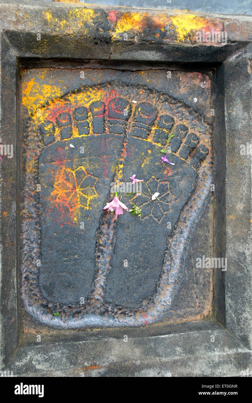 Footprint of lord Vishnu outside Channakesava Vishnu temple ; Belur ; district Hassan ; Karnataka ; India - Stock Image
