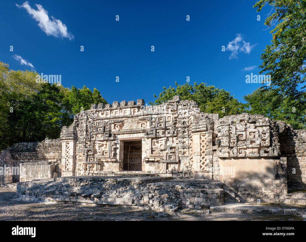 Monster Mouth entrance at Palacio Principal, Maya ruins at Hochob archaeological site, near Chencoh, Campeche, Mexico - Stock Image