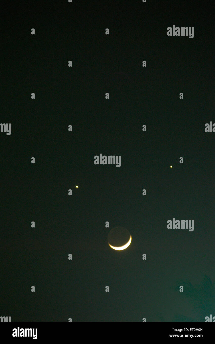 Planets and moon conjunction of jupiter and venus with