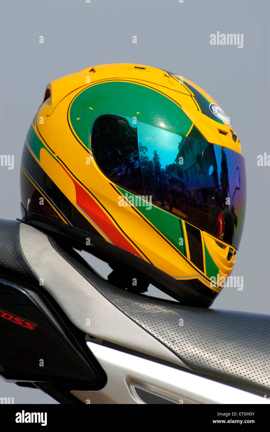 Colourful helmet on yamaha fz 150cc bike ; India - Stock Image