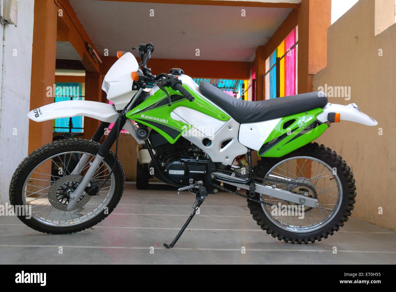 Dirt bike kawasaki - Stock Image
