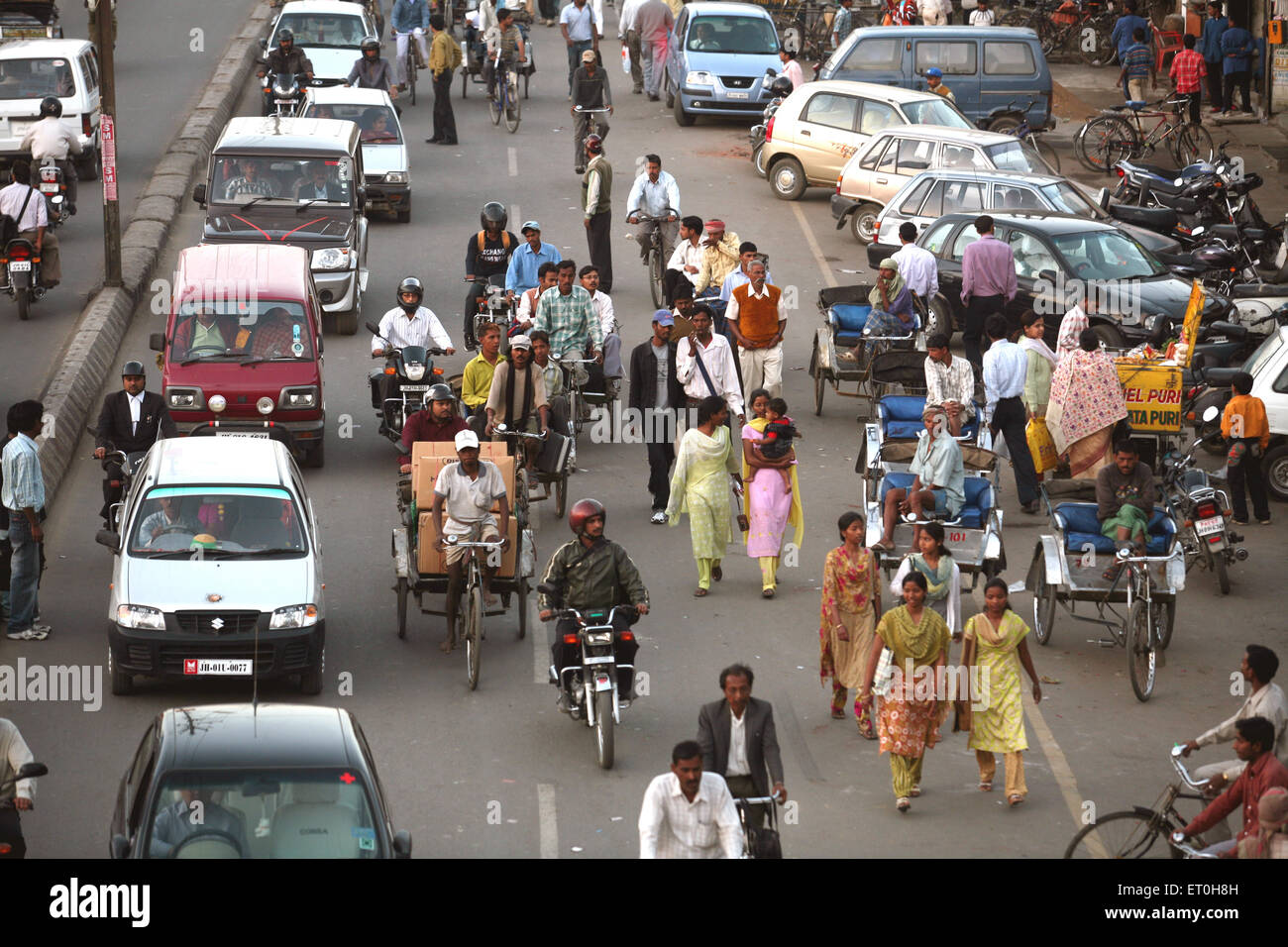 Busy street of Ranchi city capital of Jharkhand ; India - Stock Image