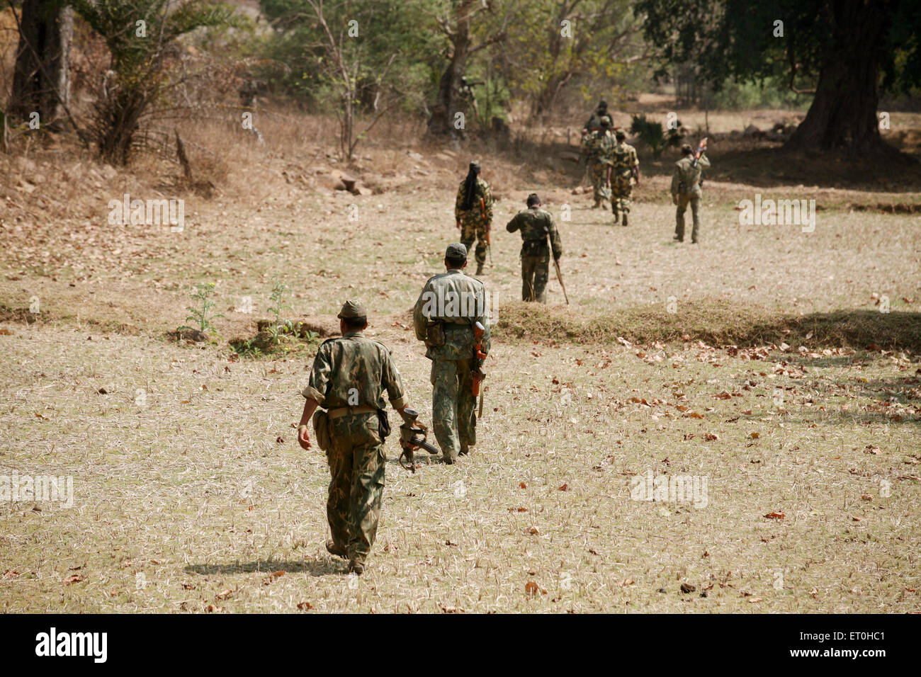 Central Reserve Police Force CRPF soldiers hunt for naxalites in forest of Jharkhand ; India - Stock Image