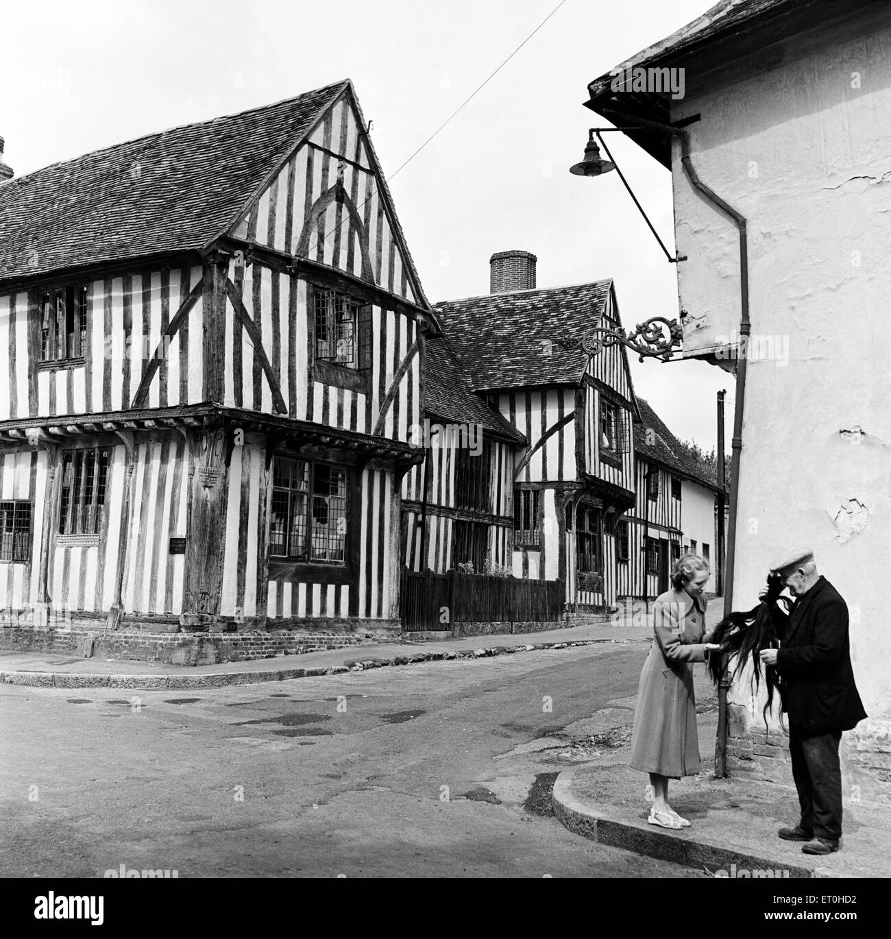 Lavenham Wool Hall, a Grade I listed sixteenth century timber framed building on Lady Street in Lavenham, Suffolk. - Stock Image