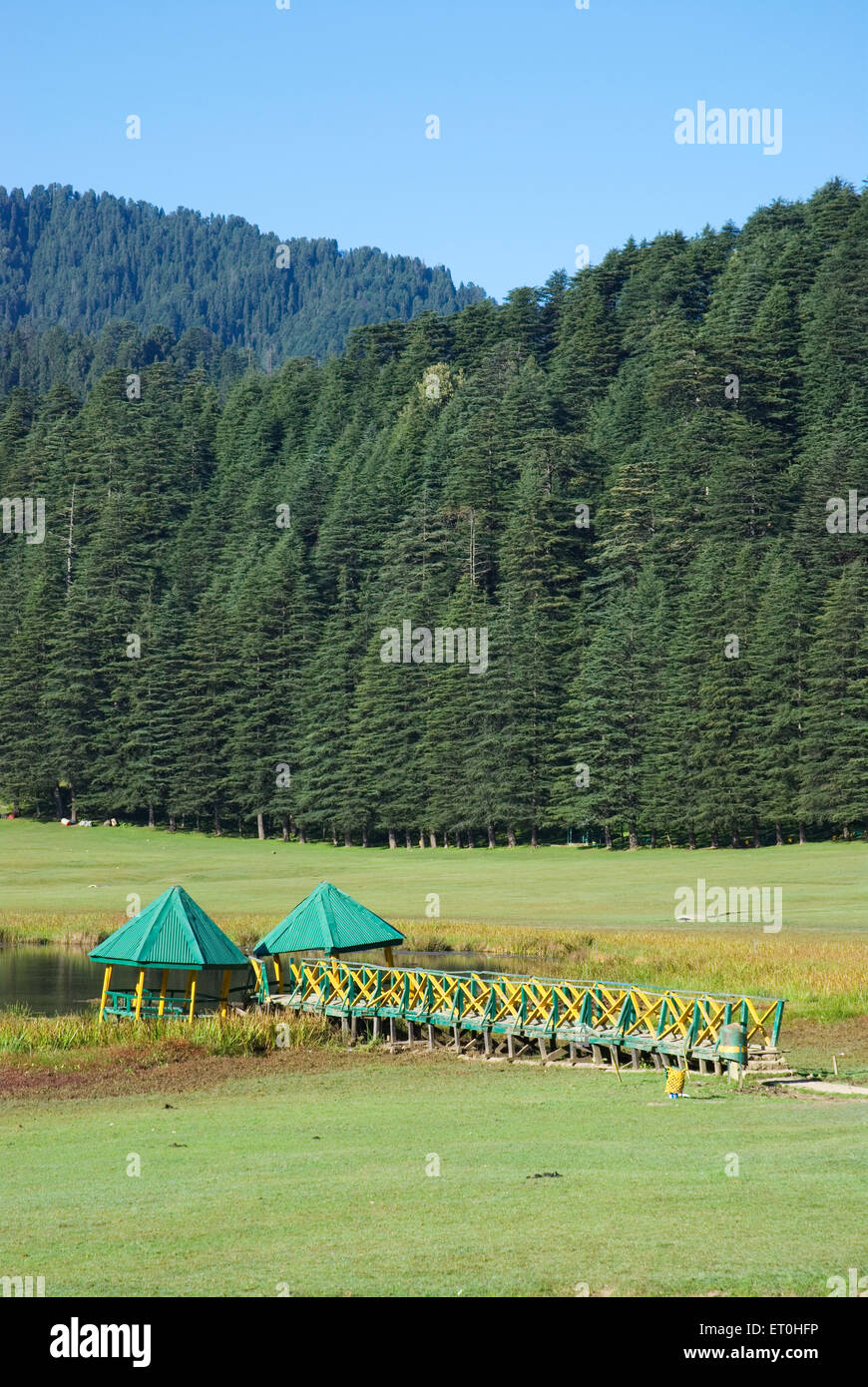 Lake view at khajjiar ; Himachal Pradesh ; India - Stock Image