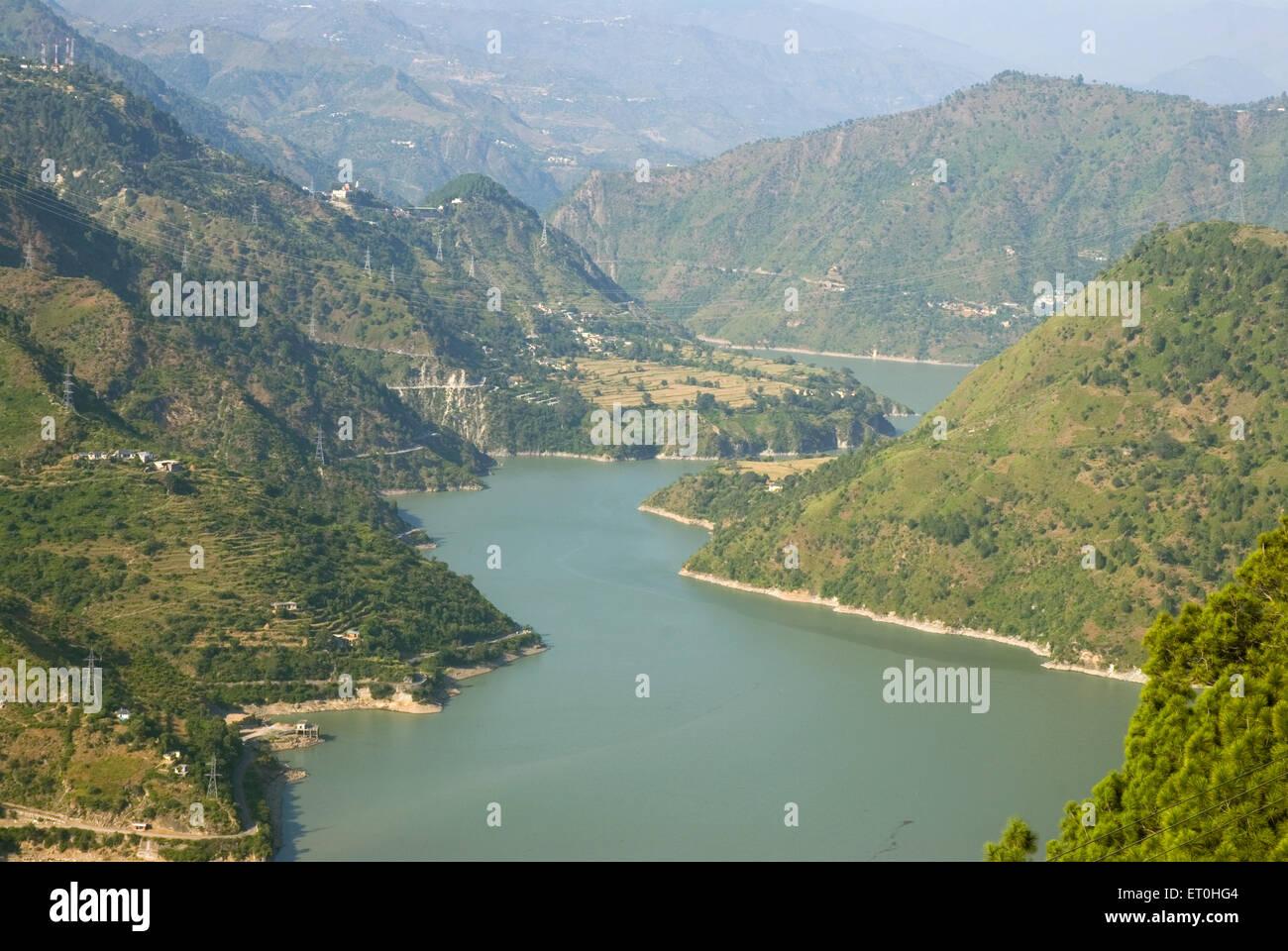 Mountain range with beas river ; Himachal Pradesh ; India - Stock Image