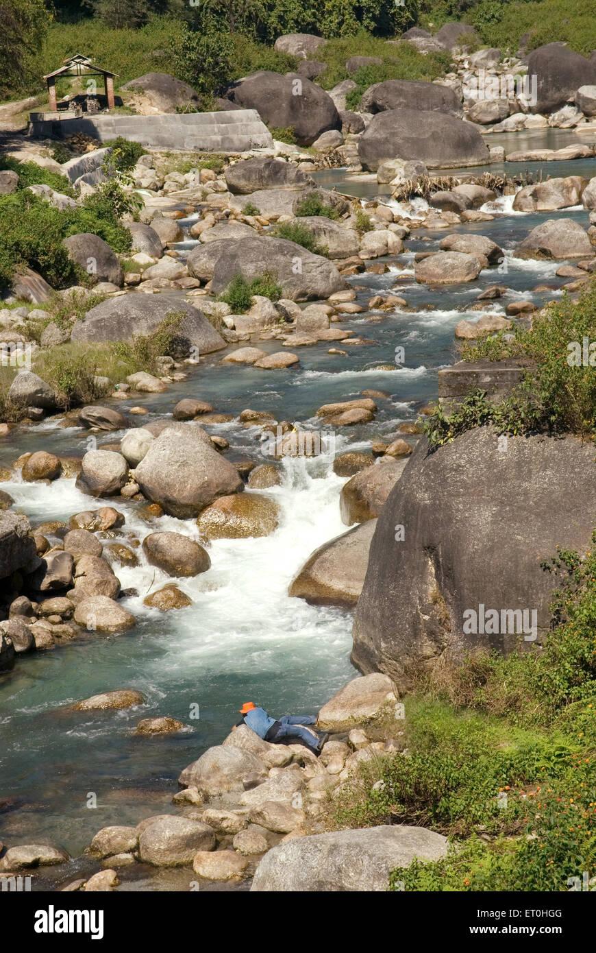 Beas river at palanpur ; Himachal Pradesh ; India - Stock Image