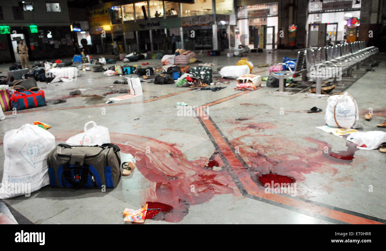 Left luggage and blood stains of terror attack by Deccan Mujahideen terrorists at CST station ; Bombay Mumbai - Stock Image