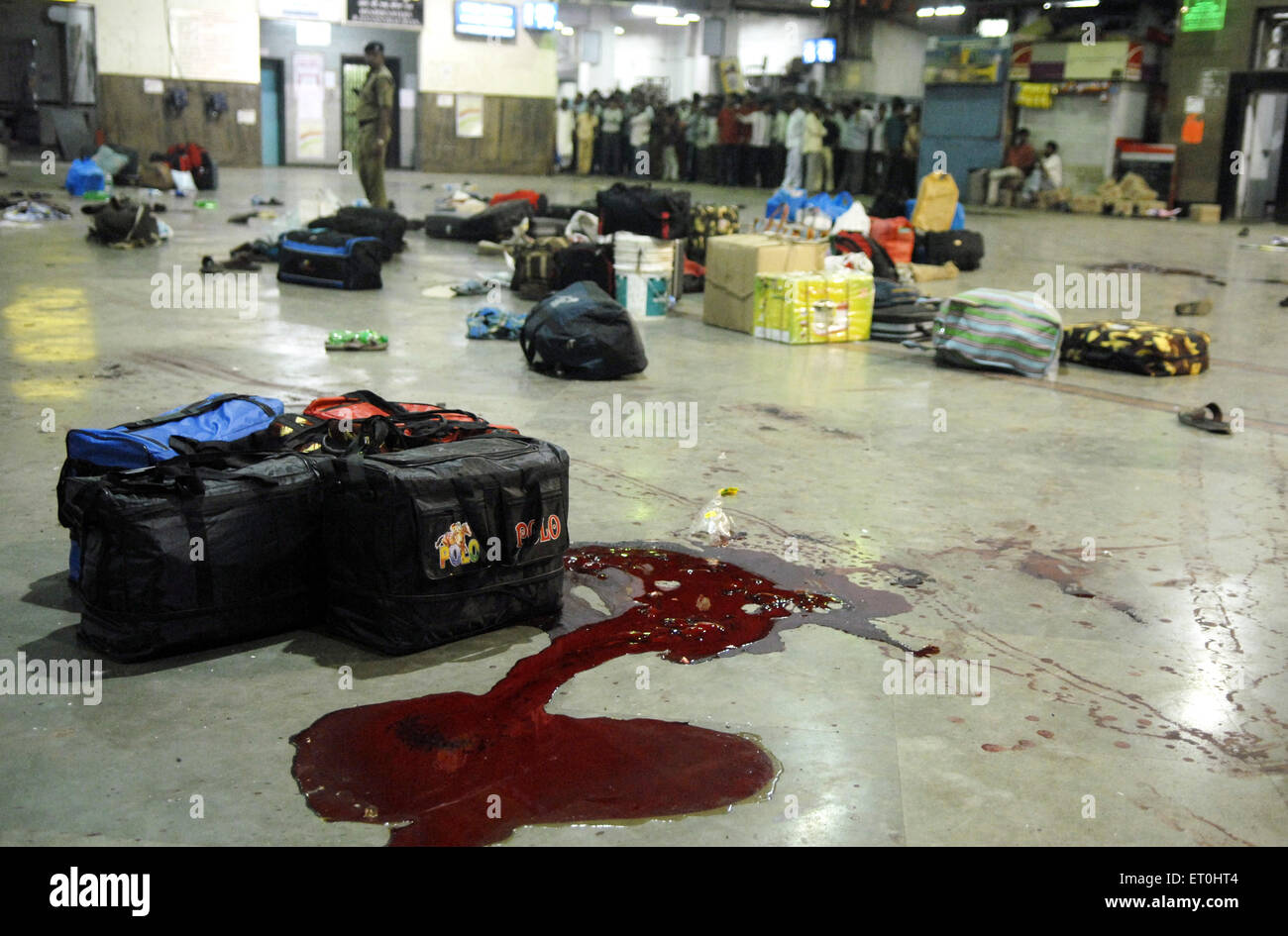 Left luggage and blood stains of terror attack by Deccan Mujahideen terrorists at CST station ; Mumbai - Stock Image