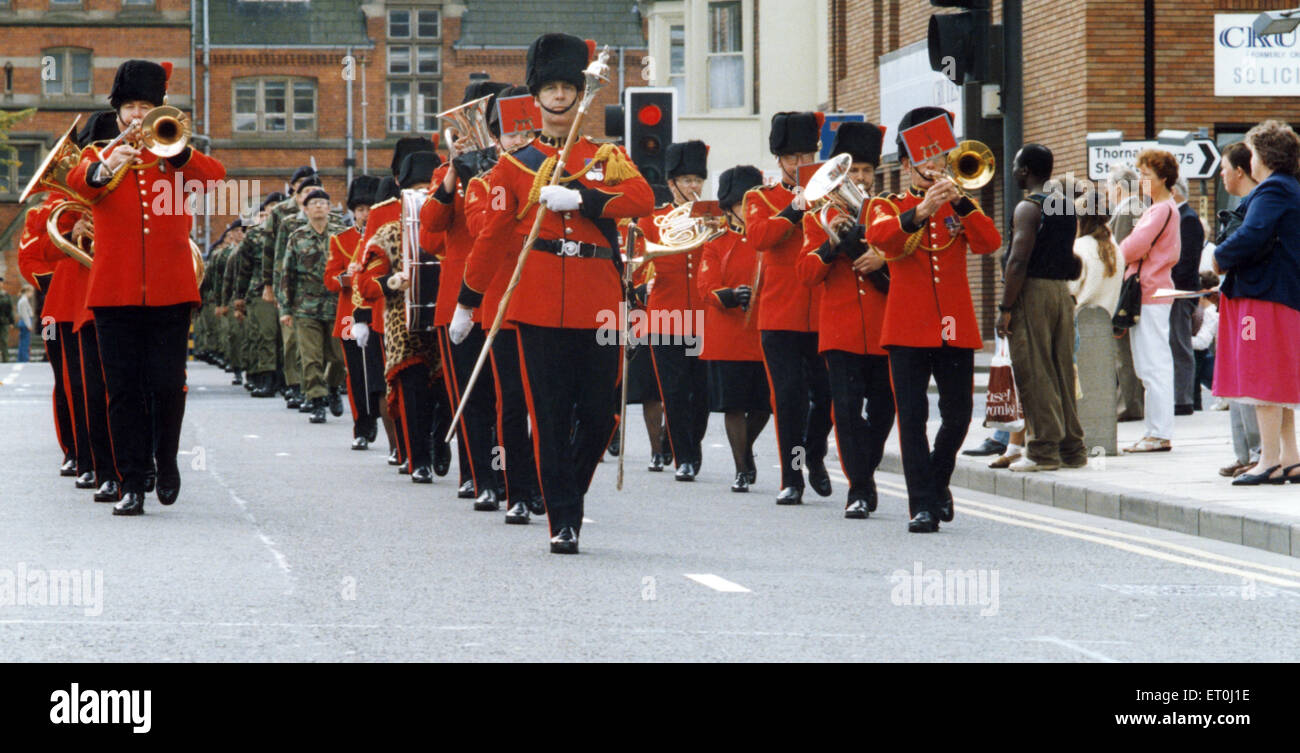 The band leads the way as the 34th Signal Regiment parades through the centre of Middlesbrough to received the freedom - Stock Image
