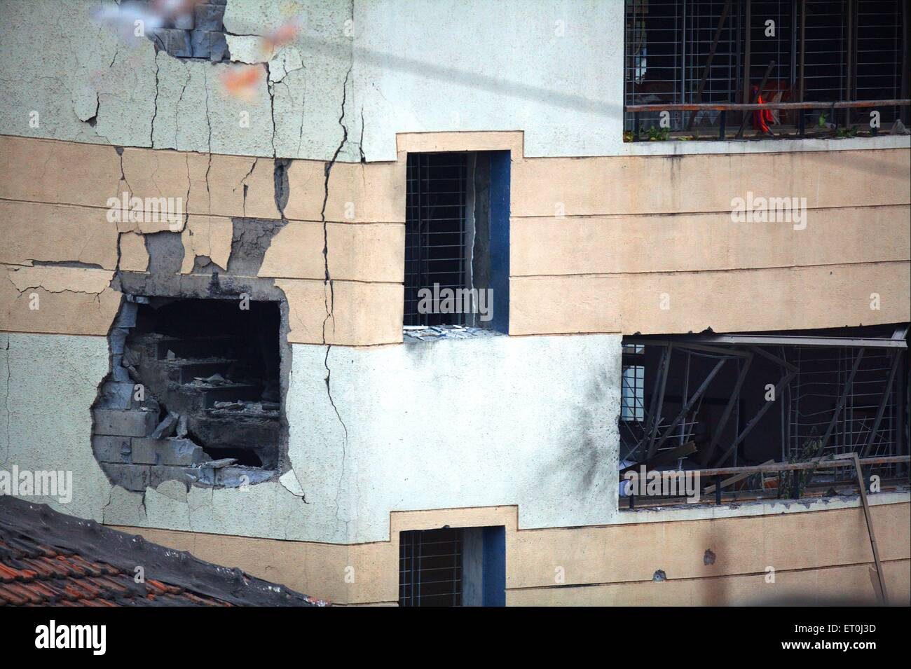 Damages done to Jewish Centre Nariman House during terrorist attacks situated in Colaba in south Bombay Mumbai - Stock Image