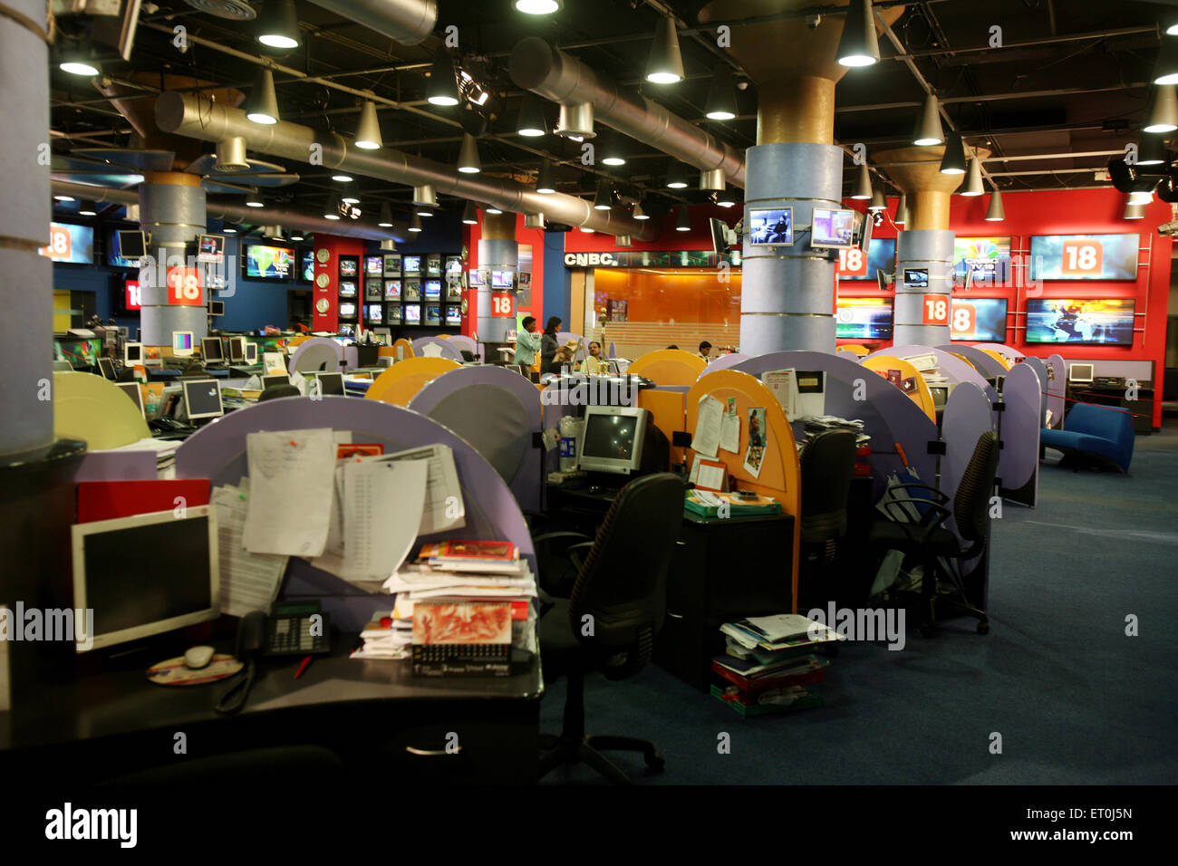 Empty terminals at the otherwise busy newsroom of India's top business channel CNBC in Bombay Mumbai ; Maharashtra - Stock Image