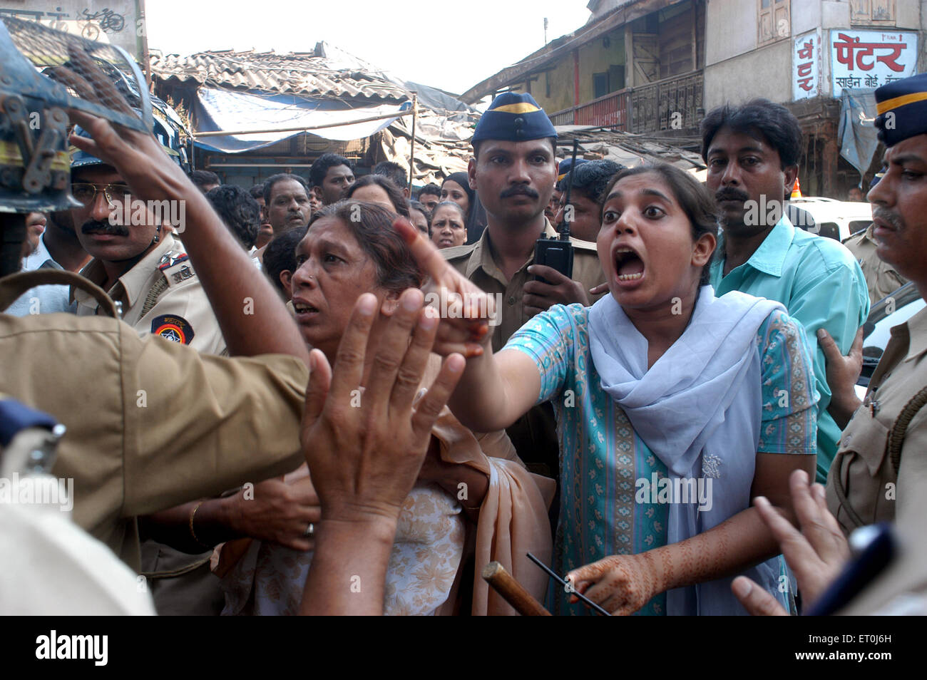 A commotion during protest rally in Kurla in central suburb of Bombay Mumbai ; Maharashtra ; India NO MR - Stock Image