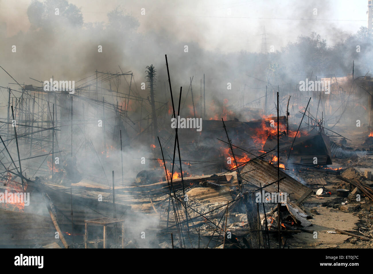 Site of fire which broke out at the Mhada colony situated at Versova ; Andheri ; Bombay now Mumbai ; Maharashtra Stock Photo
