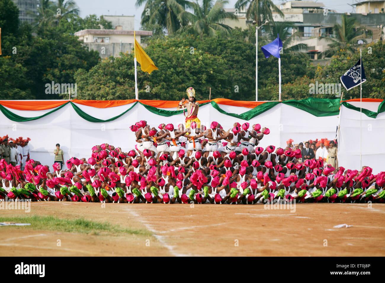 Police Men Displaying Lord Krishna Lotus Flower On 1 May Maharashtra
