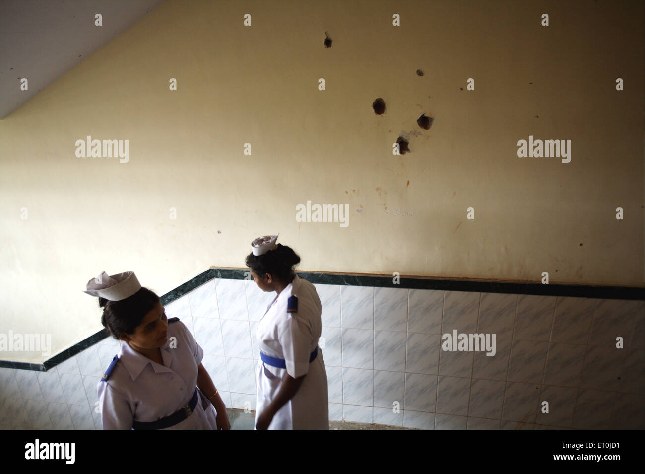 Bullets marks walls Cama and Albless hospital in terrorist attack by Deccan Mujahedeen on 26th November 2008 ; Bombay - Stock Image