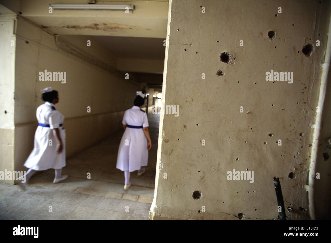 Bullets marks on walls of Cama and Albless hospital in terrorist attack by Deccan Mujahedeen on 26th November 2008 - Stock Image