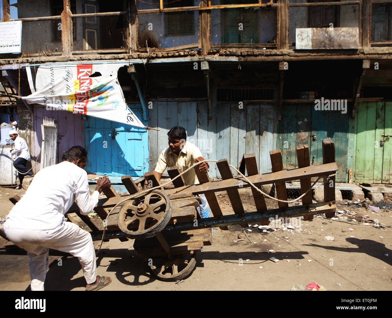 People monitoring losses property bomb blast on 29 September 2008 in textile town of Malegaon ; Maharashtra - Stock Image