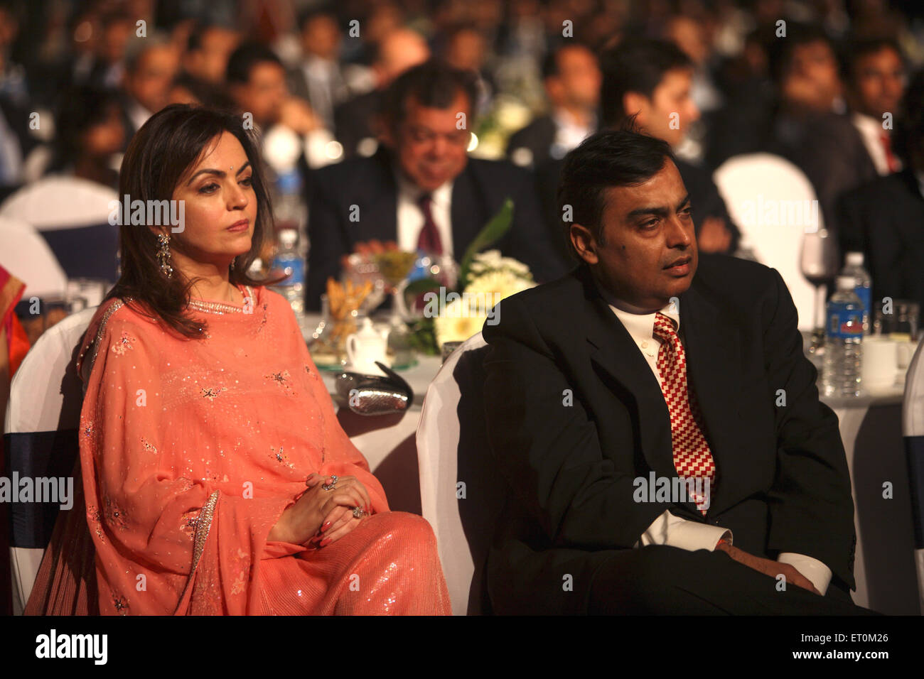 Mukesh Ambani with wife Neeta Ambani ; Chairman and Managing Director of Reliance Industries Limited RIL Mumbai - Stock Image
