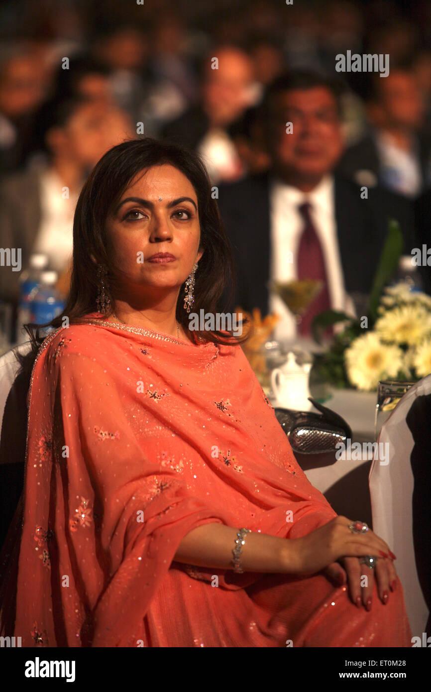 Neeta Ambani wife of Mukesh Ambani Chairman and Managing Director of Reliance Industries Limited RIL Mumbai - Stock Image