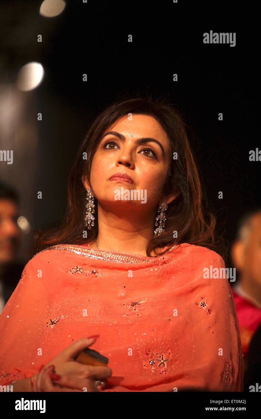 Neeta Ambani wife of Mukesh Ambani Chairman and Managing Director of Reliance Industries Limited RIL Business Leader - Stock Image