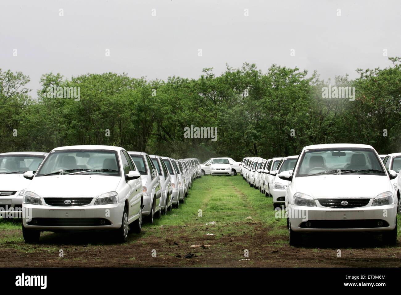Tata motors new range commercial vehicles Tata Indigo parked at Tata motors Plant ; Pimpri near Pune ; Maharashtra - Stock Image