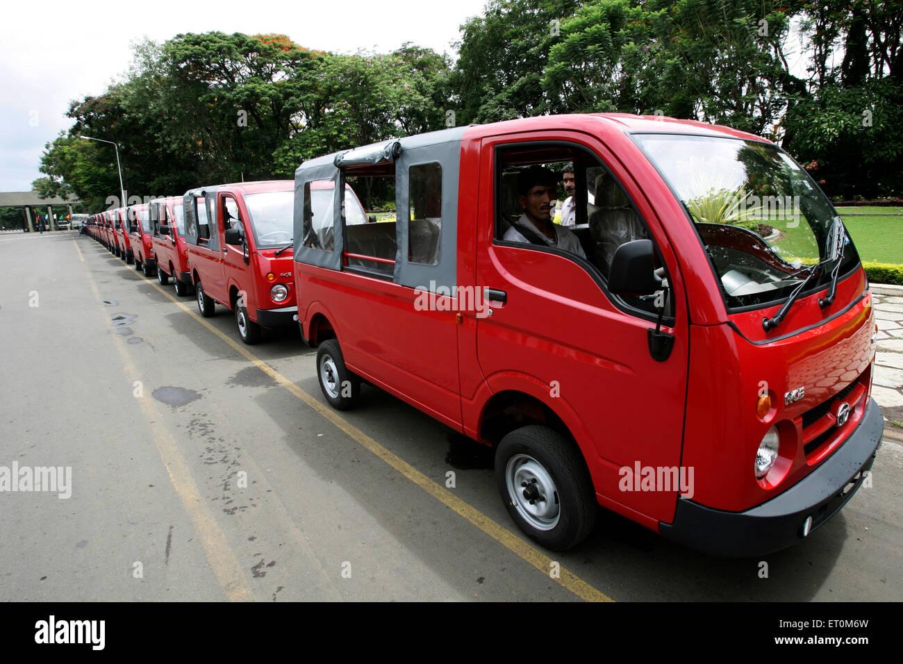 Tata motors new range mini vans Tata Magic used as mini bus at Tata motors plant ; Pimpri near Pune ; Maharashtra - Stock Image
