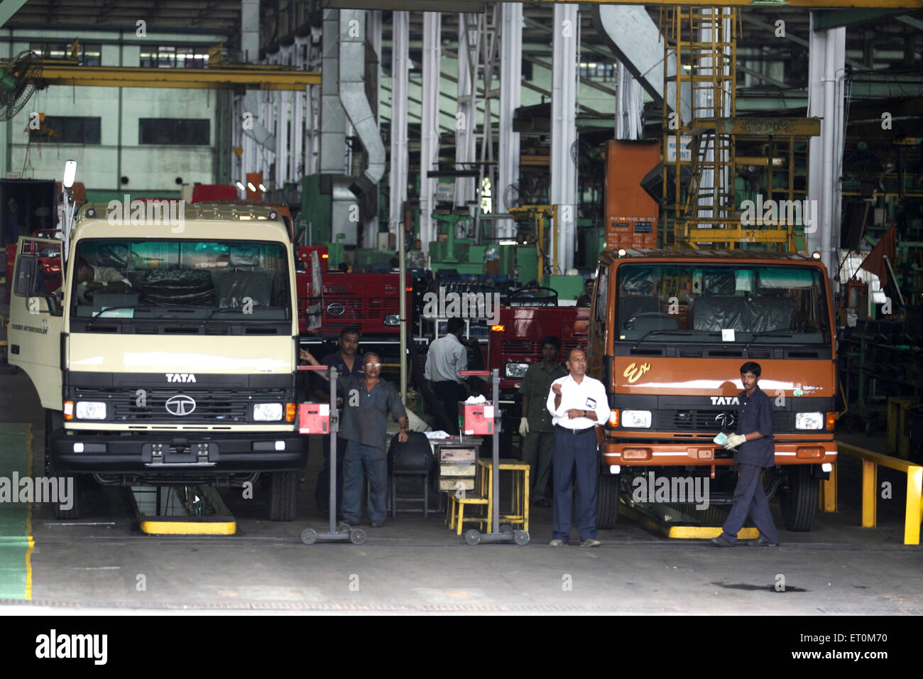 Tata motors matador chassis work shop at Tata motors plant ; Pimpri near Pune ; Maharashtra ; India - Stock Image