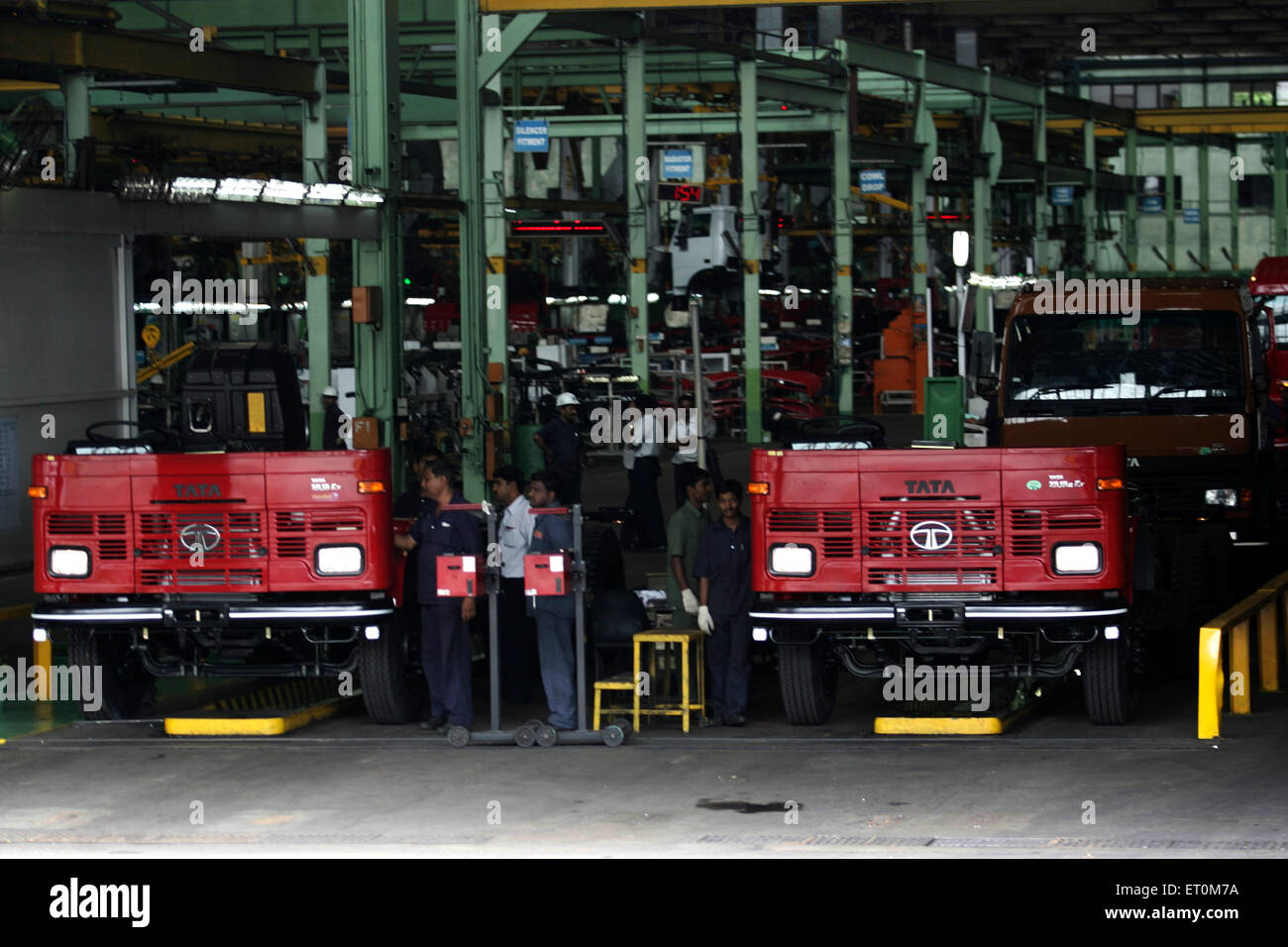 Tata motors trucks chassis work shop at Tata motors plant ; Pimpri near Pune ; Maharashtra ; India - Stock Image