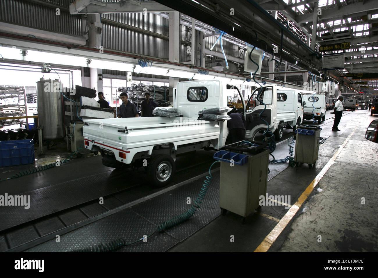Tata motors new range mini matador Tata Ace commercial vehicle workshop at Tata motors plant ; Pimpri Pune - Stock Image