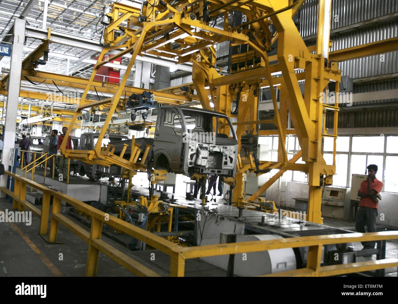 Body of Tata motors new range of mini matador Tata Ace commercial vehicle workshop Tata motors plant ; Pimpri Pune - Stock Image