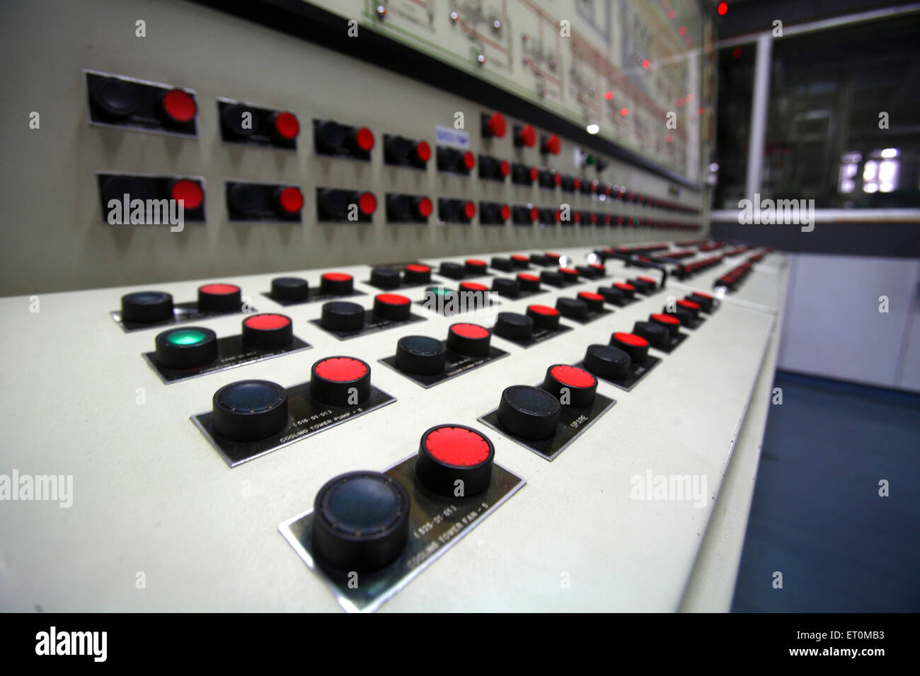 Switch board of large machines for scrutinizing milk standards at Amul factory in Anand ; Gujarat ; India - Stock Image