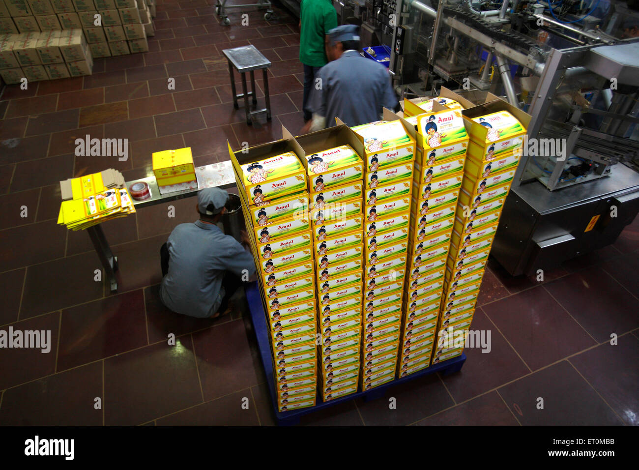 Wrappers of Amul butter being made in factory campus in Anand ; Gujarat ; India - Stock Image