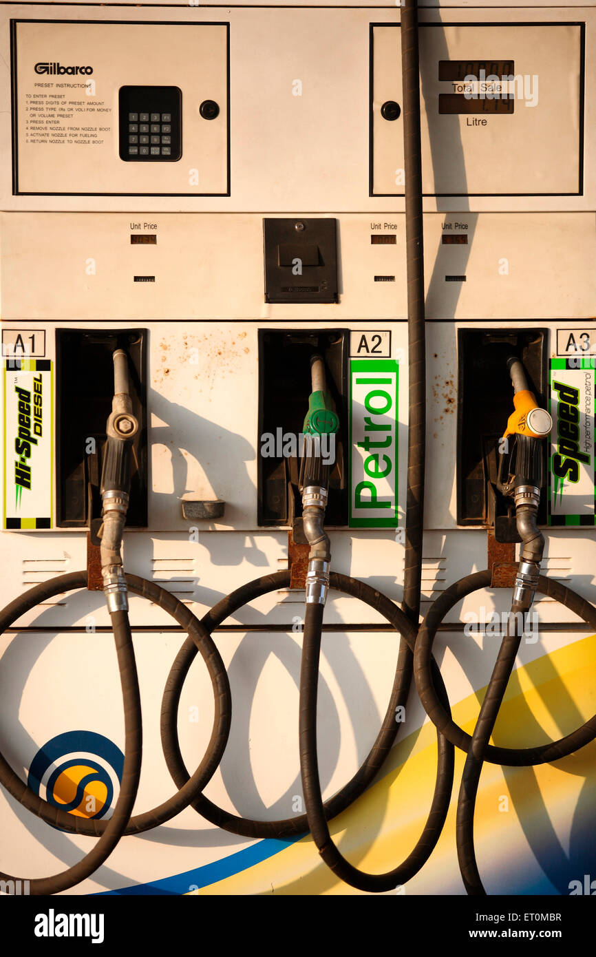 Petrol pump machine with meter reading Stock Photo