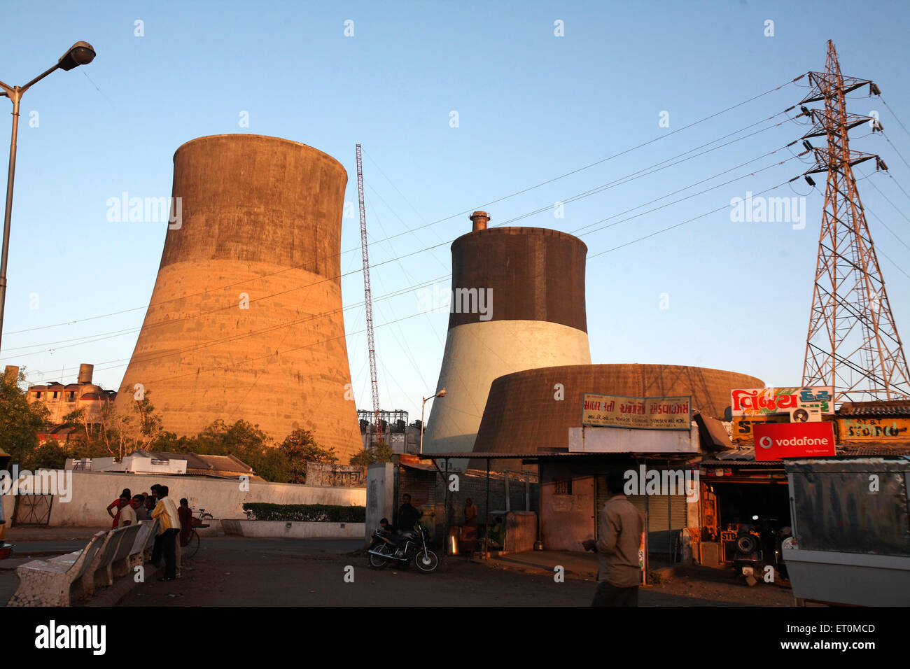 Chimneys of local power generation company at Sabarmati in Ahmedabad ; Gujarat ; India - Stock Image
