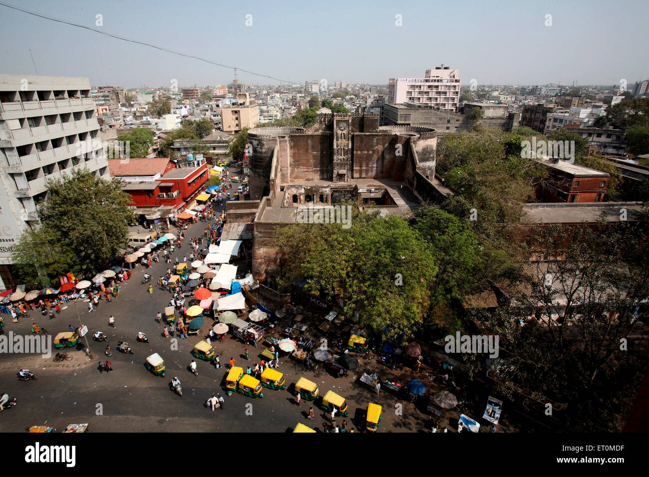 Aerial view of Bhadra fort in centre and markets around it ; Ahmedabad ; Gujarat ; India - Stock Image