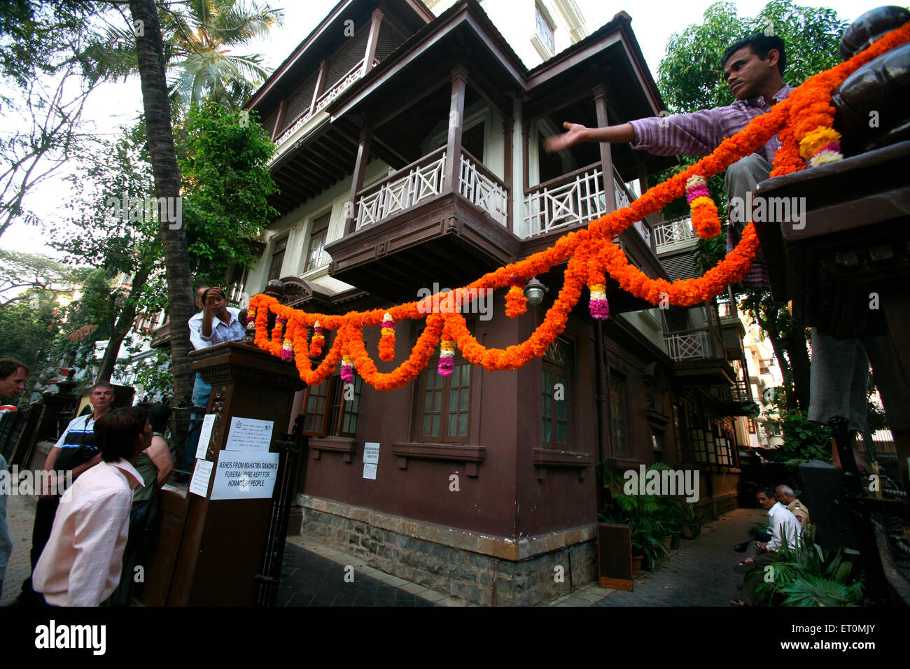 Workers at Mani Bhavan ; place where Gandhi lived during his visit to Bombay now Mumbai ; Maharashtra ; India - Stock Image