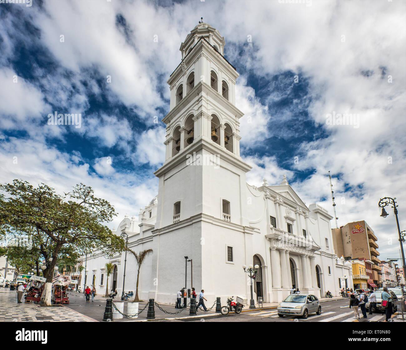 Catedral de Nuestra Senora de Asuncion, Plaza de Armas (zocalo) in Veracruz, Mexico - Stock Image