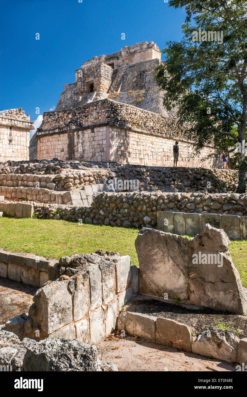 Piramide del Adivino (Magicians House), Maya ruins at Uxmal archaeological site, Yucatan Peninsula, Mexico - Stock Image