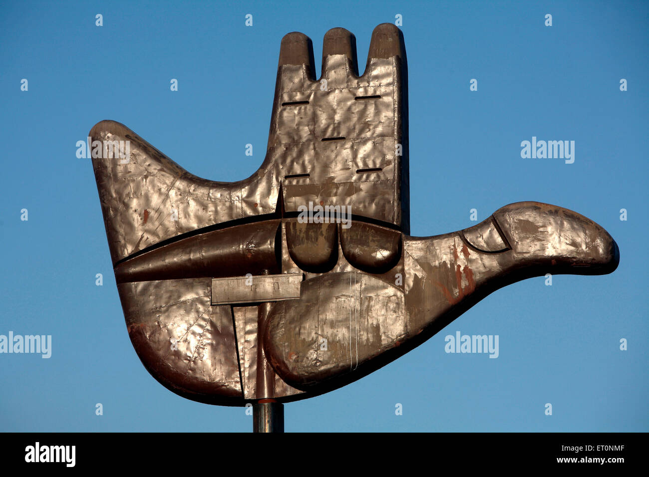 Open Hand is geographical representation of Chandigarh Union Territory  ; India - Stock Image