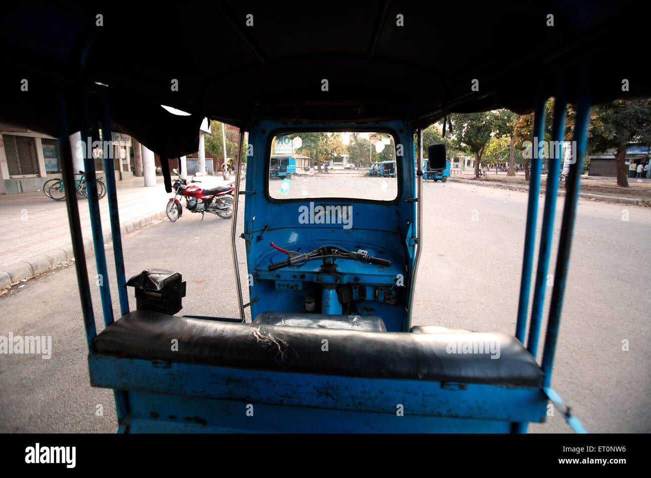 Auto rickshaw parked at Chandigarh Union Territory  ; India - Stock Image