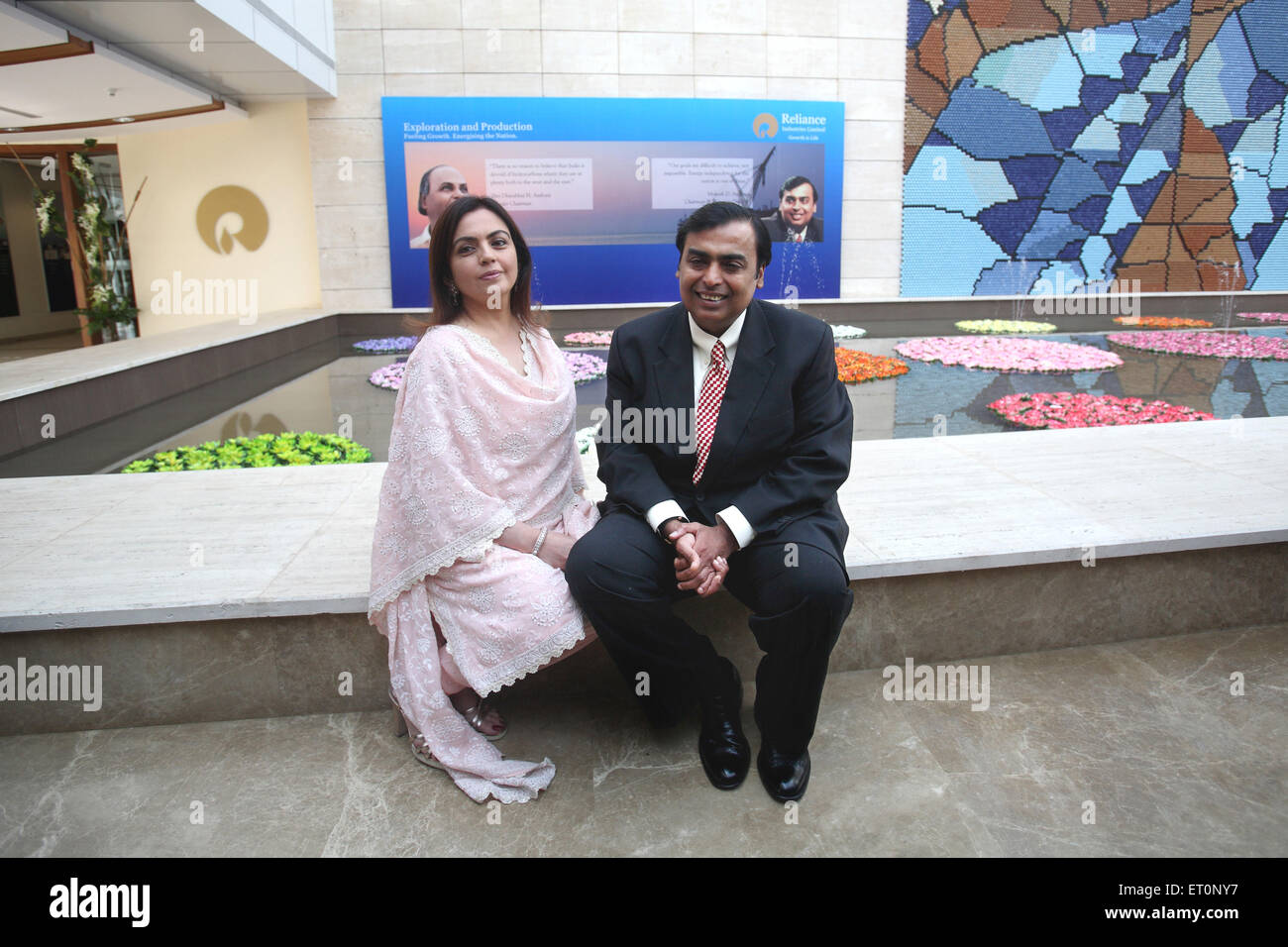 Chairman and managing director of reliance Industries Mukesh Ambani and Neeta Ambani  NOMR - Stock Image