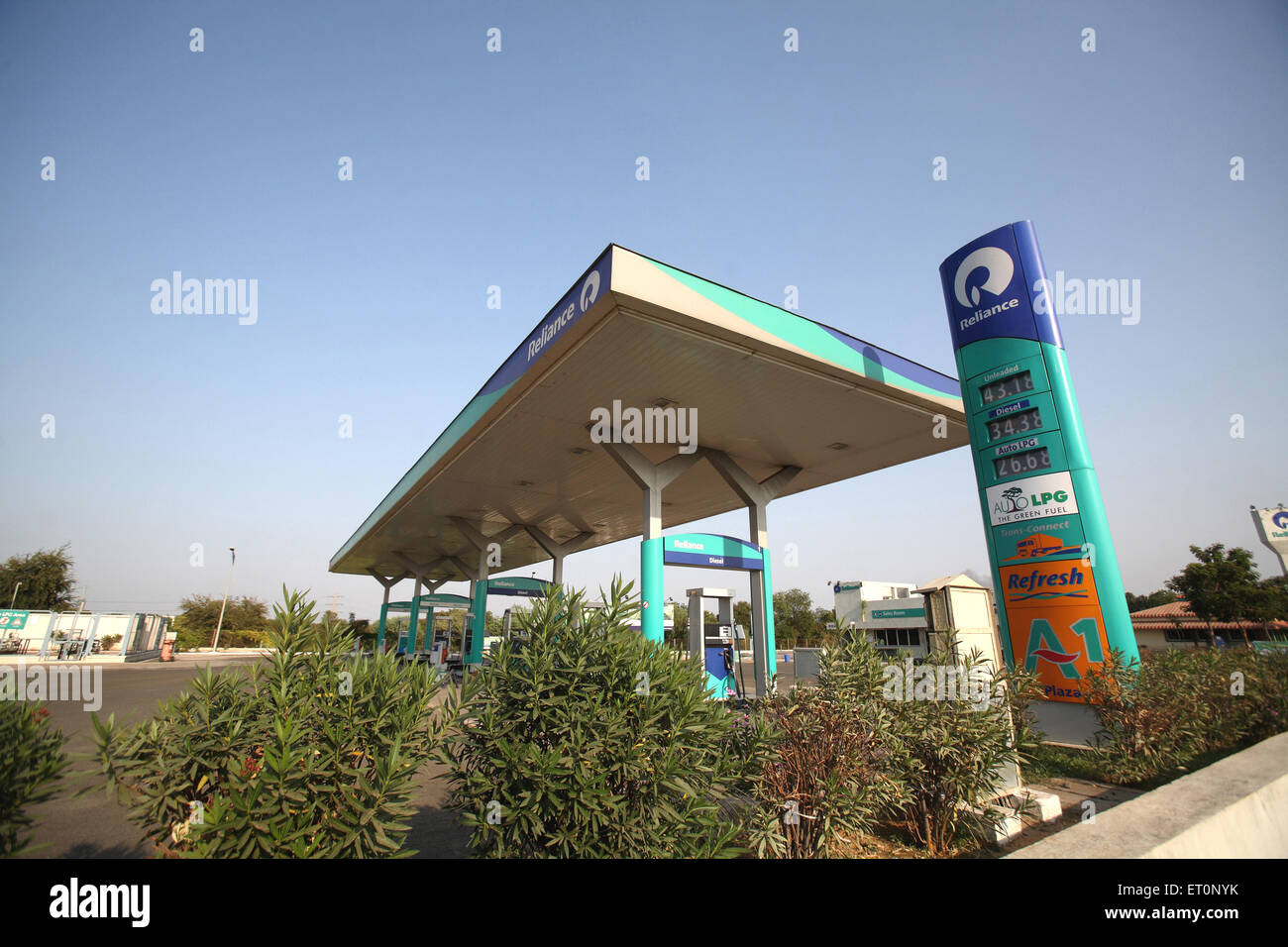 Petrol pump by reliance industries ; Rajasthan ; India - Stock Image