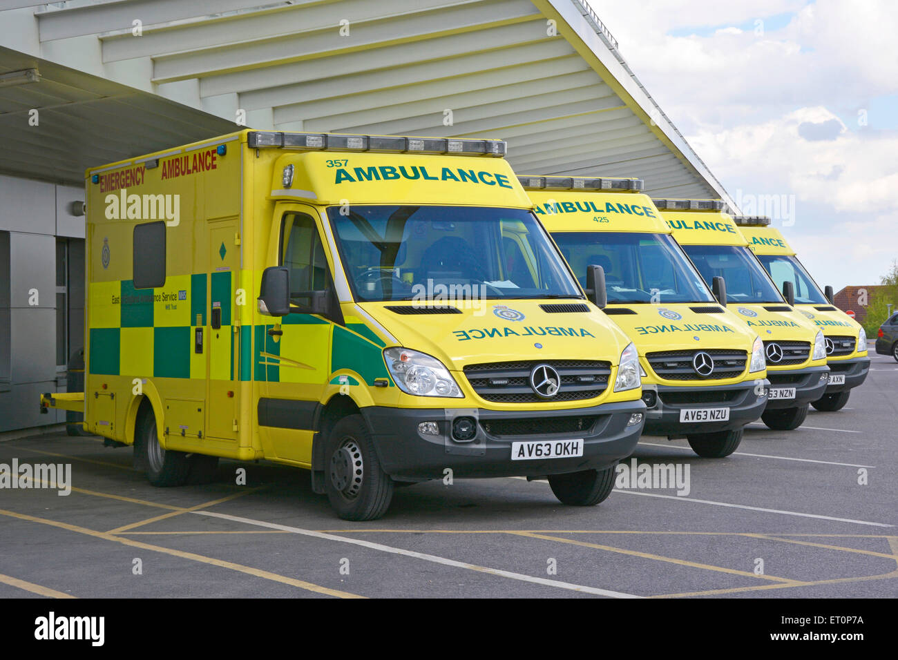 6d51566a9d1f43 East Of England ambulance service Mercedes Benz NHS ambulances parked  outside hospital accident and emergency department