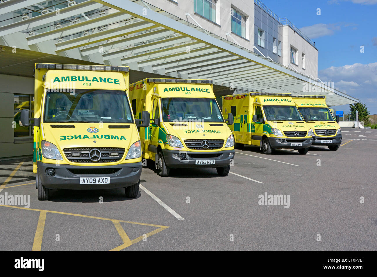 Mercedes Benz East Of England ambulance service NHS emergency SOS 999 ambulances parked at hospital accident & - Stock Image