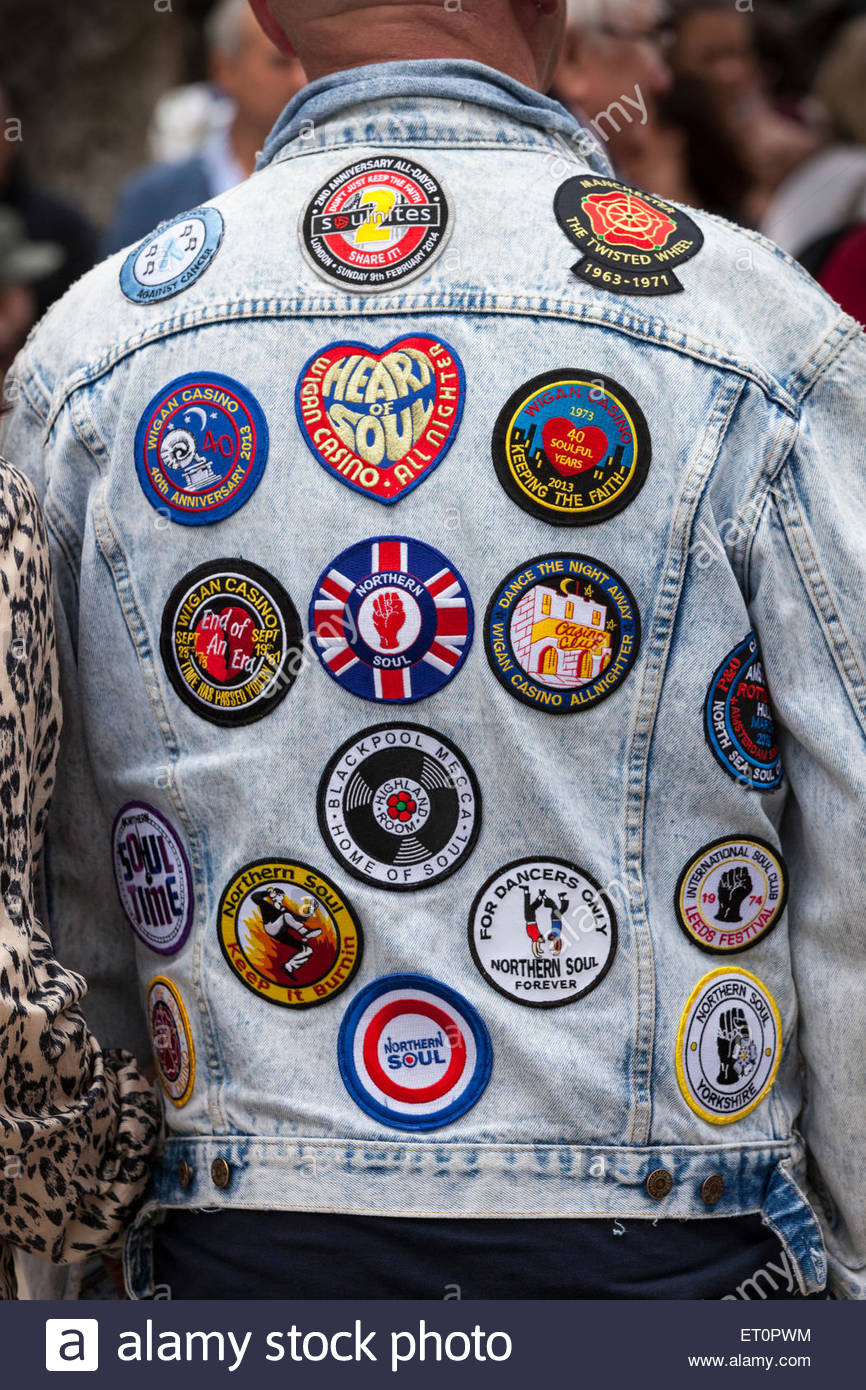 Northern Soul Music Fan - Jacket With Badges Haworth West Yorkshire Stock Photo 83611184 - Alamy