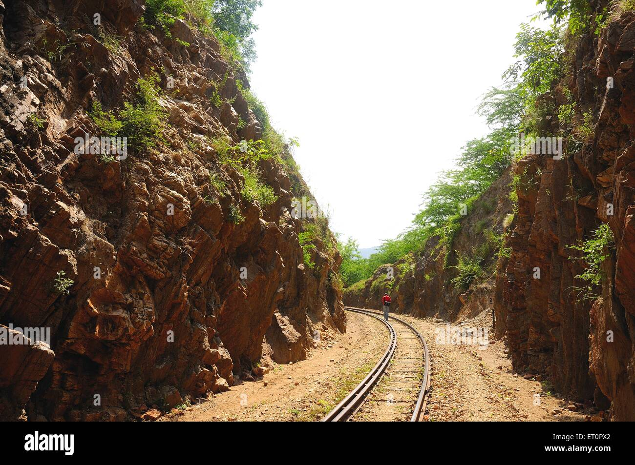 Railway line ; Goram ghat ; Marwar Junction ; Rajasthan ; India - Stock Image