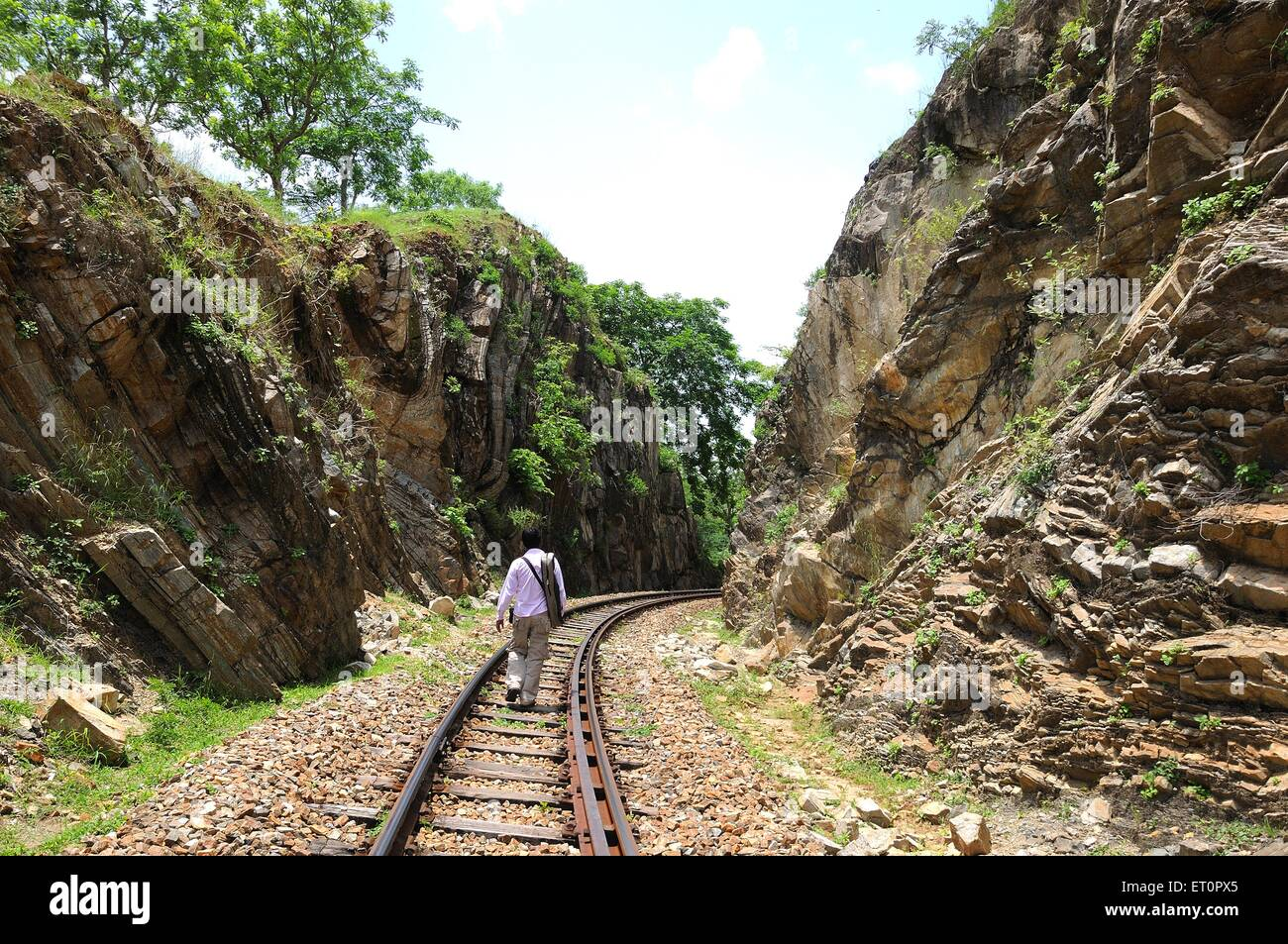 Man on railway line ; Goram ghat ; Marwar Junction ; Rajasthan ; India - Stock Image